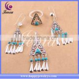 Best selling blue turquoise stone jewelry set thai silver fashion jewellery italian (6305T5-1)