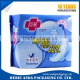 Printed plastic packaging material sanitary packing bag for sanitary pad packing with self adhesive sticker                                                                                                         Supplier's Choice