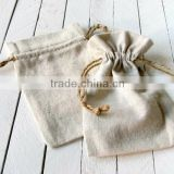 2015 High-end natural cotton washable drawstring bags with hemp cords