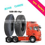 9.00-20-14 PR Qingdao factory wear resistance heavy duty truck bus bias tyres TBB tires