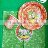 custom printed paper plate and cups, high quality low price printed paper plate and cups and napkins, party set