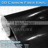 CARLIKE Glossy Black Self-adhesive Car Body Wrap Foil 5D Carbon Fiber