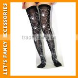 PGSK0189 High quality lace seamless printing halloween stocking black spider web stocking girl's party stocking