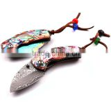 High Quality Damascus Folding Pocket Knife Collection Knife with Natural Abalone Shell Handle
