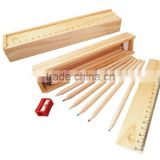 Hot Sale Mini Cheap Natural School Kids Shaped Wooden Colorful Pencil Set with Ruler for promotion