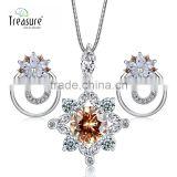Costume jewelry Newly women fashion accessories charm earrings and necklace gemstone jewelry set