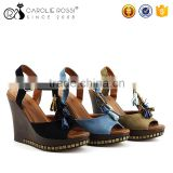 Latest new model ladies tassel 11cm high heel wedge sandals with golden nail