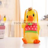 30cm lovely customized yellow stuffed plush strawberry duck doll animal backpack with strawberry-printed T-shirt