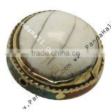 Shell Beads, Giant Clam, with Copper Findings and Enamel Enlaced, Round, White, Size: about 19~21mm in diameter, hole: 1mm