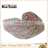 Pink and sandy beige colors stripes printing polyester scarf