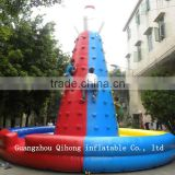 Factory prices inflatable climbing with pool/commercial rock inflatable climbing wall on sale
