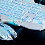 Mechanical keyboard and mouse set USB interface hot selling colorful LED illuminate ergonomic green axis wired game keyboard