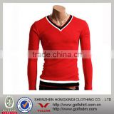 Compression clothing,long sleeve v-neck red bamboo tshirt