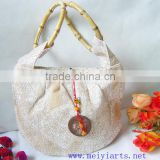 New Comfortabl material Ladies Handbag with Bamboo handle