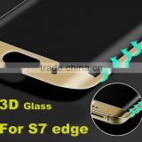 Transparent Color Tempered Glass For Samsung Galaxy S7 Edge 9H Hardness 3D Curved Surface Full Body Screen Protector Film
