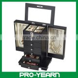 Wooden Mirrored Cosmetic Jewelry Box Case with Compartments and Lock and 6 Drawers and 2 Side Doors and Base for Jewelry Storage