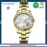 FS FLOWER - Stainless Steel Watch Case Band Inlaid Stone Quartz Watches For Men Relojes De Mujer