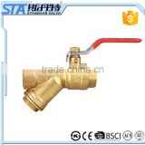 ART.1069 1/2 3/4 1 inch forged sand balsted and brass natural color cw617n brass ball valve with y strainer price made in china