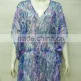 Latest Animal Printed Polyester woven Beach Swimsuit coverup dress caftan kaftan caaftaan kaaftaan