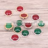 Red / Green Color Malaysian Jade Stone Connector Beads with Pave Crystal Jewelry Gemstone Druzy