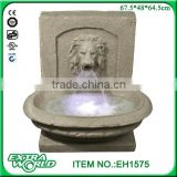 resin led garden lion stone finish water fountain decoration