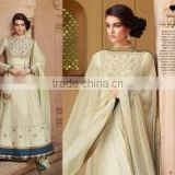 Whimsical Off White Tussar Silk Designer Anarkali Suit/Buy Online Designer Anarkali Suits