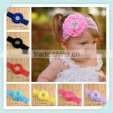 3d flower lace embroidered fabric baby hair accessories headband lace flower faux pearl knotted baby headband