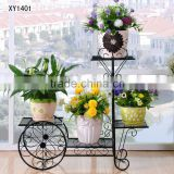 New Wrought Iron Bicycle Garden Basket 3 Tier Patio Porch Plant Flower Pot Stand Home Decor Planter