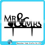 Black Acrylic MR & MRS Silhouette Wedding Party Cake Toppers