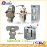 hamburger bread production line (spiral dough mixer,dough rounder,proofer,bakery oven Hamburger bread slicer )