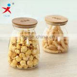 Puffed food glass jars with bamboo cap