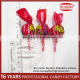 Red Big Bom Candy With Bubble Gum Filling Round Lollipop