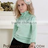 new children's fall clothes baby girl green lace turtleneck fashion sweater