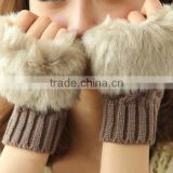 sale wholesale girls ladies winter faux rabbit fur fingerless gloves