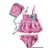 Boutique New Style High quality Beautiful polka dots Baby Bathing Suit Swimwear kids fashion bikini 3 pieces sets