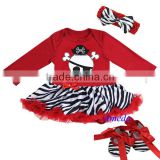 Baby Red Zebra Pirate Long Sleeves Bodysuit Pettiskirt Jumpsuit Headband Crib Shoes 3pcs NB-18M