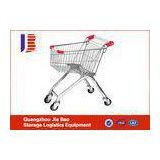 180L Galvanize Steel Supermarket Shopping Trolley With Rubber Wheels