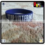 New design STOP LITTERING YOU ARE NOT ALONE Blue Silicone Wristband Bracelet