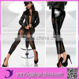 2015(CF1185)Mesh Ripple Design Faux Leather Women In Black Leggings Pictures