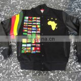 Mens Black Varsity Jacket with White Leather Sleeve Custom printed Bomber Jacket