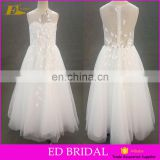 Real Photo Scoop Neckline Long Patterns Beaded On Sale Flower Girl Net Dresses For Wedding