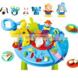 Educational toy set kids play clay dough with table set