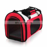 red pet carrier bag with mesh and handle strap for dog and cat