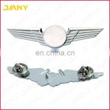 Custom Logo Sliver Plated Pilot Wing Badge with Butterfly Clutch Pin Back