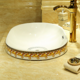 Chian manufacturer Fashion  Color oval Wash Basin Bathroom Ceramic Decals Sink for vanity