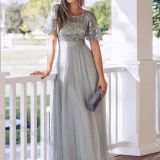 Women's Sleeve Embroidery Floor Length Evening Dresses