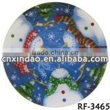 Round Flat Glass Plates with Christmas Design for Clear Promotion Glassware Dinner Plates