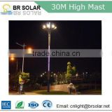 18m 20m 30m CE IEC ROHS FCC certification approved high mast lighting with solar football field lights