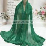 High Grade Large Long Solid Plaini Eyelash Lace Brim 100% Real Silk Scarves for Women