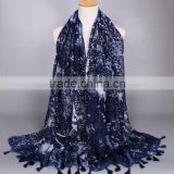 2016 Latest Star Printed Navy Blue Scarf Shawl Pashmina Muslim Women Hijab                                                                         Quality Choice
